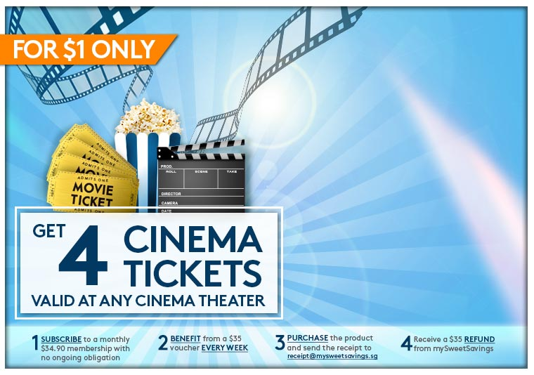 4 Cinema Tickets Valid at any Cinema Theater