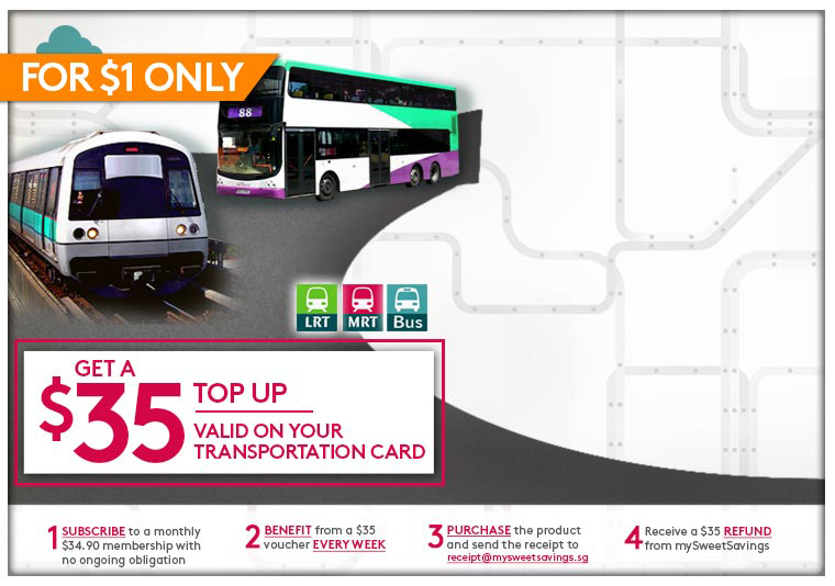 A $35 Top Up valid on your transportation card